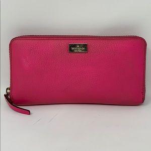 Kate Spade New York Zip Around Leather Wallet PINK